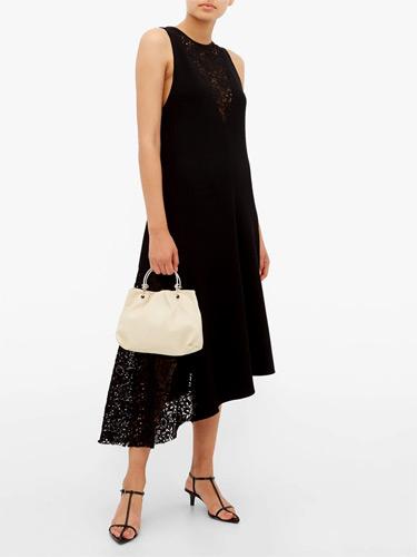 Tibi – Guipure-lace Crepe Dress Black